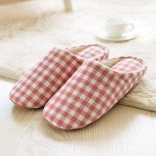 智庭日式简约春秋季情侣拖鞋软底居家木地板男女士室内家居棉拖鞋