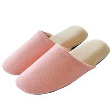 智庭日式秋冬季男女士简约条纹软底针织布室内情侣居家高弹棉拖鞋