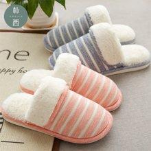 朴西家居室内厚底毛绒保暖地板棉拖鞋