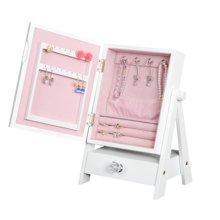 【空间小容量大】雅客集日式木语佳人白色珠宝柜化妆镜WN-14252