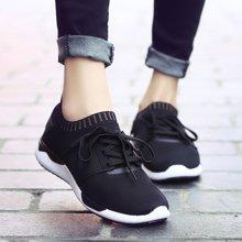 OKKO春夏新款运动休闲鞋轻便透气情侣鞋黑色运动鞋男女款XHX014