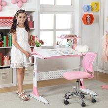【手摇可升降1米桌】雅客集智慧之星附书架儿童成长书桌椅套装(粉色)PA-15032PI