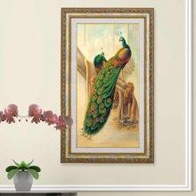 墨菲 有框画单幅 欧式客厅挂画现代装饰画玄关沙发背景墙孔雀竖版