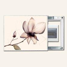 墨菲 客厅电表箱现代装饰画推拉式配电箱遮挡画冰晶玻璃墙画可带钟