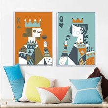 墨菲  国王与皇后北欧餐厅装饰画 扑克K咖啡厅有框画客厅卧室挂画