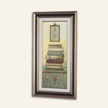 墨菲 有框画墙画 两联书本装饰画 欧式复古客厅办公室挂画玄关壁画