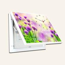 墨菲 现代简约随意停壁画田园有框墙画 客厅电表箱装饰画可带钟表