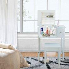 雅客集翻盖带镜白色化妆桌椅套装WN-13217