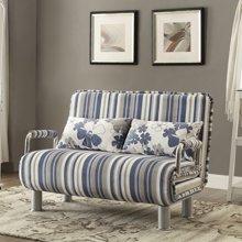 【可展开作1.2米床】雅客集爱丝特条纹绒布沙发折叠床FB-15025
