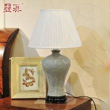 龙泉裂纹青瓷新中式现代卧室床头创意时尚陶瓷复古典客厅装饰台灯