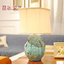 墨菲原创欧式创意现代陶瓷台灯 客厅卧室床头灯温馨布艺装饰灯具