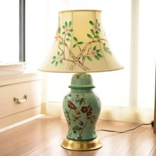 墨菲 美式乡村手工彩绘创意陶瓷铜制卧室床头柜客厅陶瓷装饰台灯