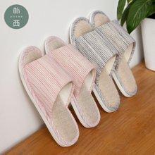 朴西日式情侣家居静音防滑软底简约亚麻拖鞋
