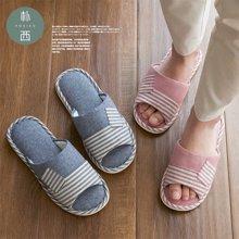 朴西四季室内居家简约地板开口成人棉麻拖鞋
