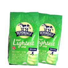 2包装 澳大利亚Devondale德运脱脂高钙成人奶粉1kg/包