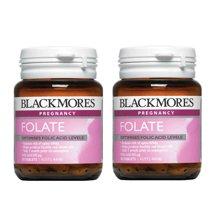 【海外直邮】澳大利亚Blackmores天然叶酸500 孕前孕期必备(90粒)*2瓶