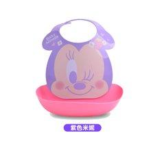 【香港直邮】日本锦化成宝宝围兜 迪士尼图案儿童食饭兜 口水巾防水围嘴0.25kg*1件(紫色米妮)
