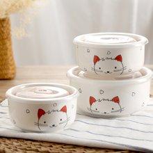 顺祥纯手工手绘萌宠直身保鲜碗3件套餐具瓷碗 陶瓷碗(猫小咪)