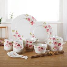 【12头家庭陶瓷品】顺祥轻盈曼舞陶瓷餐具套装 创意家用餐具 陶瓷碗