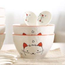 顺祥时尚釉下纯手工手绘露珠韩尚碗4头套装陶瓷餐具(猫小咪)