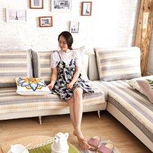 芒更家纺 极有家风格棉麻沙发垫-香格里拉蓝