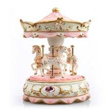 宝石旋转木马/粉----镶有宝石、彩珠的粉色可爱音乐盒
