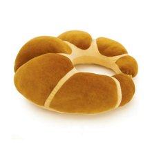 牛角包按摩枕/咖啡----CVC剪毛绒,耐磨,抗皱