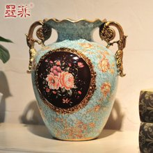 黛蜜款 欧式宫廷复古彩绘陶瓷双耳插花器时尚居家装饰摆件花瓶