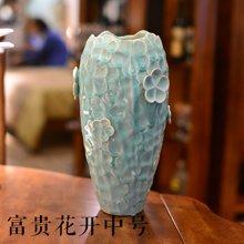 墨菲 大号手工欧式冰裂釉陶瓷干花瓶 客厅创意装饰摆件插花艺套装