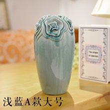 墨菲 欧式现代创意陶瓷花艺花瓶 手捏冰裂釉客厅卧室家居摆件花器