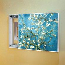 墨菲 欧式电表箱装饰画推拉式客厅配电箱遮挡箱有框挂画不带钟表