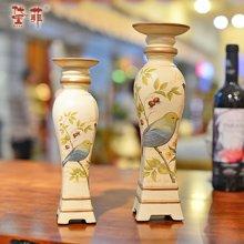 別韵 欧式宫廷复古精美彩绘田园做旧树脂烛台客厅餐桌装饰品摆件