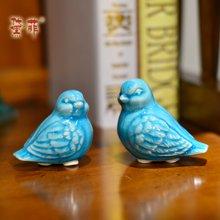 墨菲 创意时尚小鸟陶瓷摆件 浮雕冰裂釉客厅书房电视柜家居装饰品