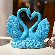墨菲 浪漫冰裂釉陶瓷天鹅 家居软装饰工艺品客厅酒柜创意礼物摆件