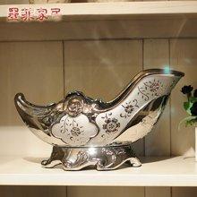 墨菲弗洛戈蓝西洋混搭欧式创意青花瓷电镀银红酒架子酒托装饰摆件