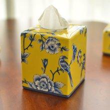 墨菲 新中式古典美式田园乡村陶瓷彩绘纸巾盒 客厅餐厅装饰品摆件