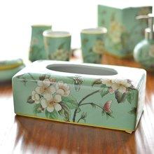 墨菲 新中式古典美式田园乡村陶瓷彩绘纸巾盒 客厅餐厅卧室抽纸盒