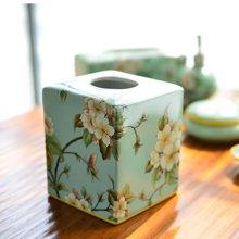 墨菲 美式田园乡村古典陶瓷彩绘纸巾盒 新中式客厅餐厅抽纸盒摆件