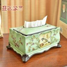 墨菲 美式乡村家用客厅花鸟纸巾盒欧式创意家居茶几餐巾抽纸盒