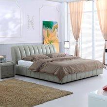 皇家爱慕现代简约床 真皮皮艺床 排骨架/双人/单人床 木质1.5*2米