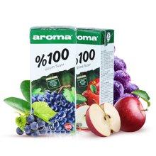 土耳其进口果汁200mL*6瓶 AROMA葡萄/苹果汁 含维生素复合果汁饮