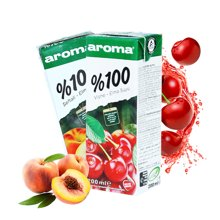 土耳其进口 AROMA苹果樱桃桃子果汁200ml*6瓶 维生素早餐果汁饮料