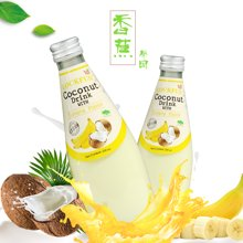 泰国原装进口爽口饮料乐可芬香蕉味椰子汁(含椰果)290ml