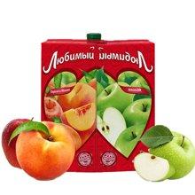 喜爱牌 俄罗斯进口果汁苹果汁桃子汁950mlx2瓶 进口饮料水果汁饮品饮料混合口味