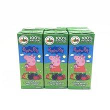 土耳其Appy小猪佩奇苹果什莓儿童果汁饮料200ml*6瓶装 包邮