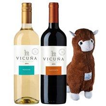 智利原瓶进口 干露羊驼葡萄酒双支装大礼包(1瓶干红+1瓶甜白+公仔)