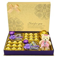 德芙巧克力礼盒装费列罗巧克力礼盒玫瑰花送女友节日生日创意礼物金生今世月光礼盒