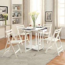 雅客集白色田园实木餐桌椅套装(一桌四椅)WN-14089