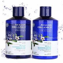 美国阿瓦隆茶树薄荷洗护套装 湛蓝精粹洗发水+护发素 414ml+397g(2瓶装)