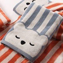 金号 无捻提缎小熊条纹浴巾(单条)130*65cm 0.48kg